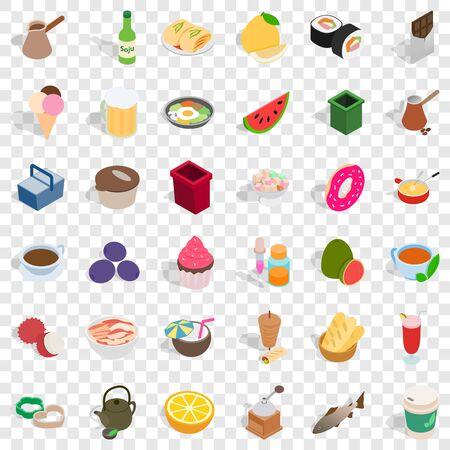 Cookery icons set, isometric style Illustration