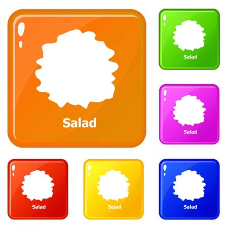 Salad icons set vector color