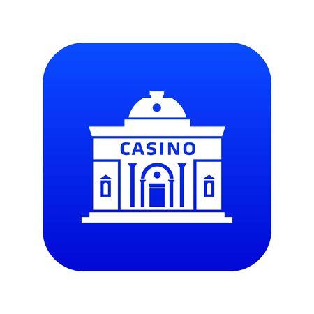 Casino building icon blue vector 向量圖像
