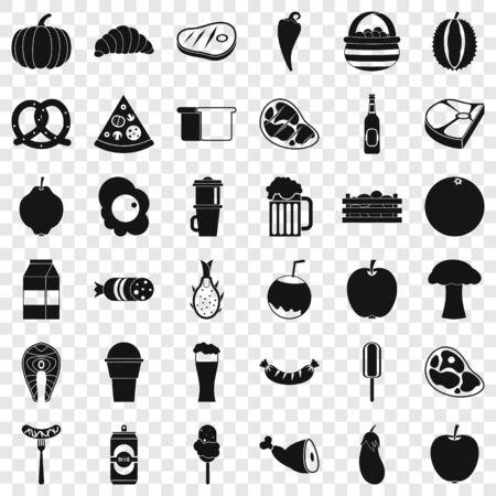 Food icons set, simle style Illustration