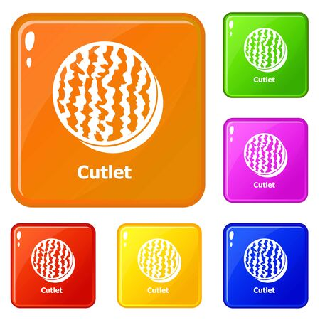 Cutlet icons set collection vector 6 color isolated on white background