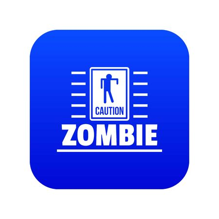 Zombie danger icon blue vector