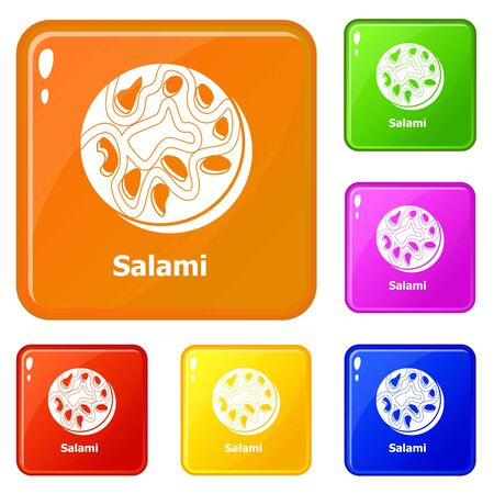 Salami icons set collection vector 6 color isolated on white background