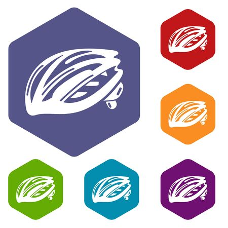 Bike helmet protection icons vector colorful hexahedron set collection isolated on white