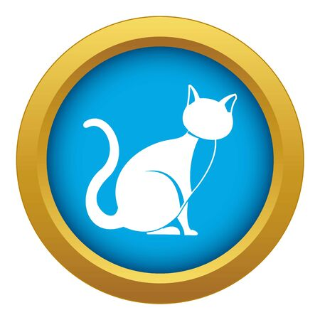Black cat icon blue vector isolated on white background for any design
