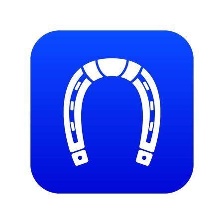 Horseshoe icon blue vector isolated on white background