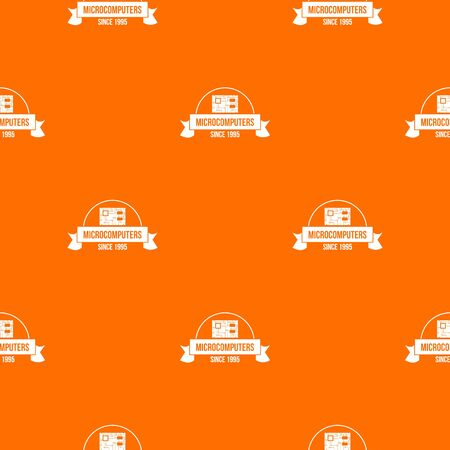 Microcomputers pattern vector orange