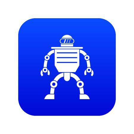 Humanoid robot icon digital blue Illustration