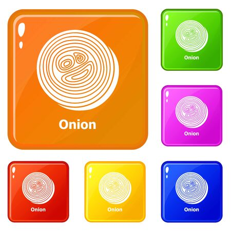 Onion icons set vector color 向量圖像