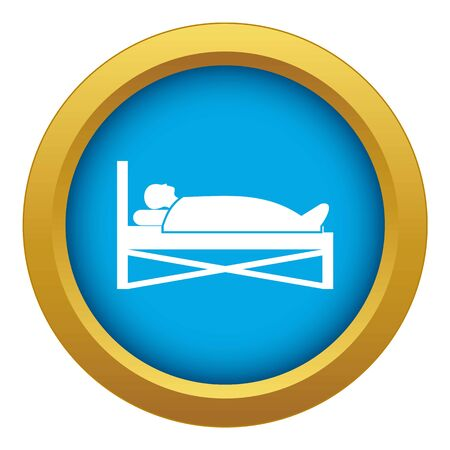 Patient in bed in hospital icon blue vector isolated on white background for any design