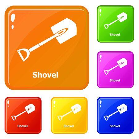 Shovel icons set vector color Vettoriali