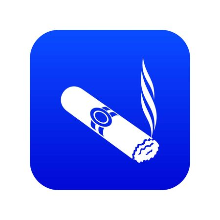 Cigar icon blue vector isolated on white background