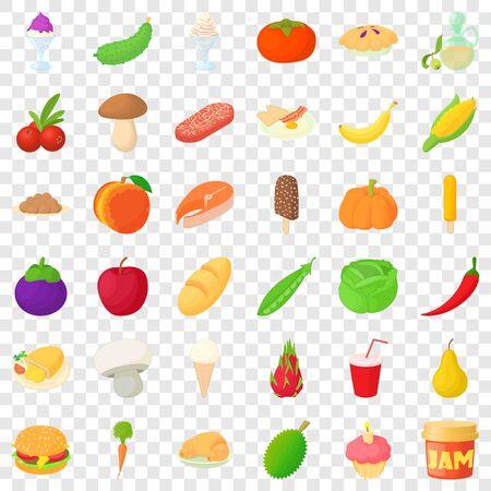 Cucumber icons set, cartoon style