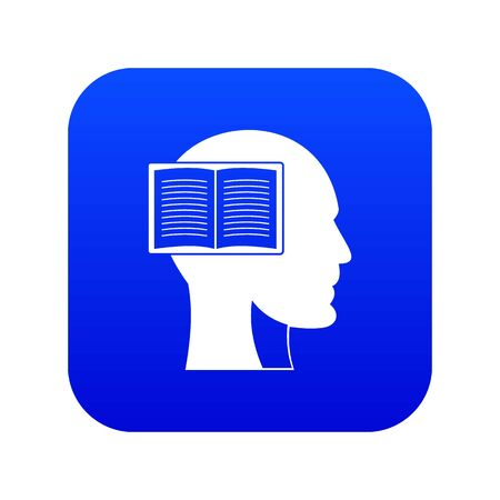 Head with open book icon digital blue for any design isolated on white vector illustration