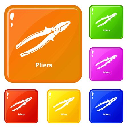 Pliers icons set collection vector 6 color isolated on white background