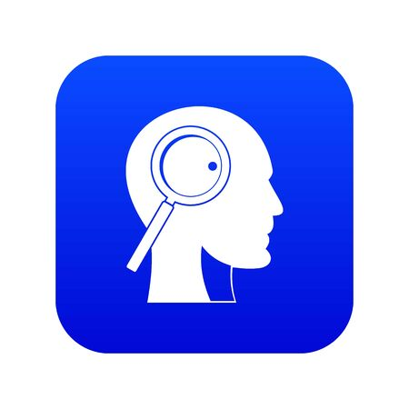 Magnifying glass in head icon digital blue for any design isolated on white vector illustration