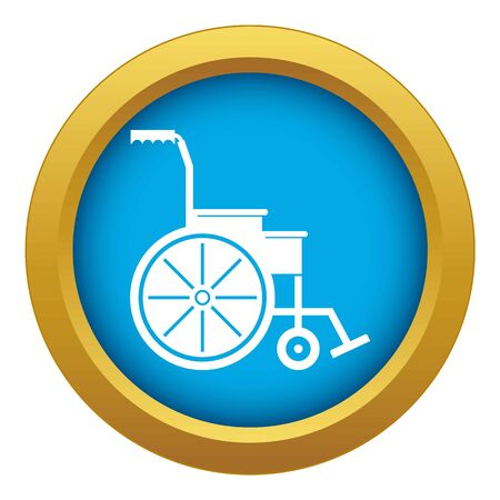 Wheelchair icon blue vector isolated on white background for any design
