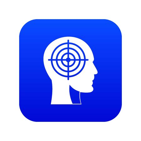 Crosshair in human head icon digital blue for any design isolated on white vector illustration Иллюстрация