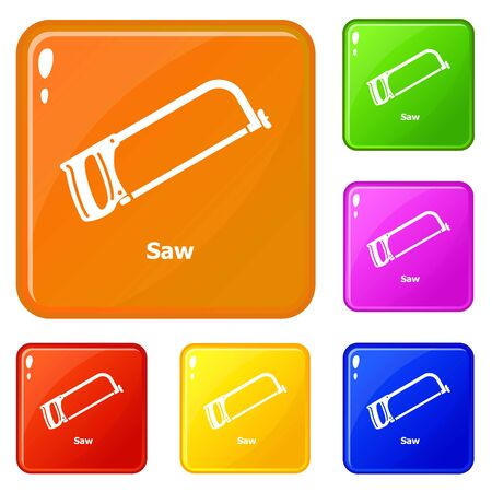 Saw icons set collection vector 6 color isolated on white background Illustration