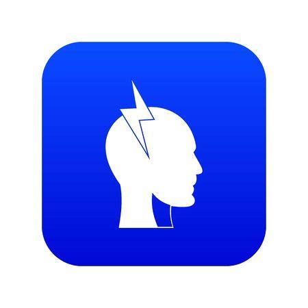 Lightning bolt inside head icon digital blue for any design isolated on white vector illustration Illustration