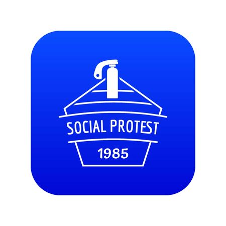 Social protest riot icon blue vector Vettoriali