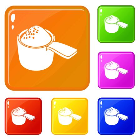 Detergent dose icons set collection vector 6 color isolated on white background