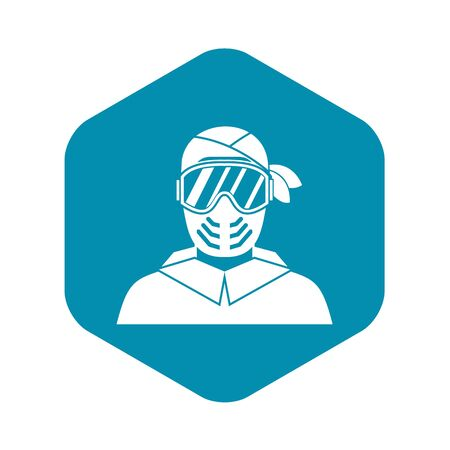 Paintball player wearing protective mask icon in simple style on a white background vector illustration Stock Illustratie