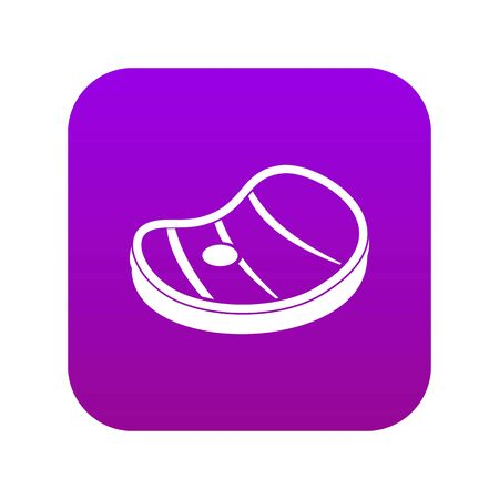 Steak of meat icon digital purple for any design isolated on white vector illustration