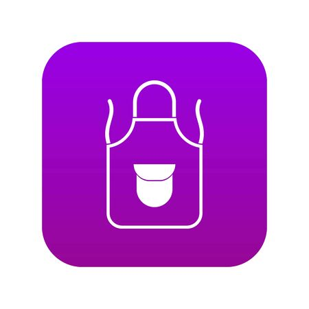 Apron with pocket icon digital purple for any design isolated on white vector illustration