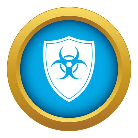 Shield with a biohazard sign icon blue vector isolated