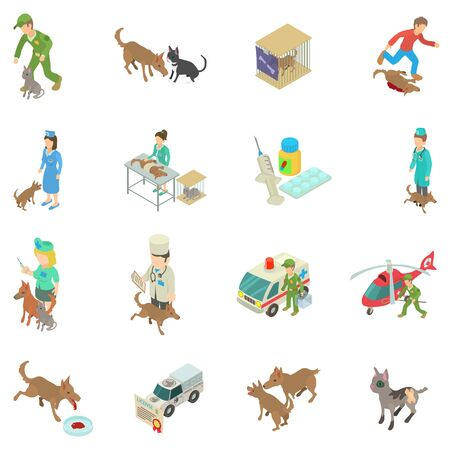 Treatment of animal icons set. Isometric set of 16 treatment of animal vector icons for web isolated on white background