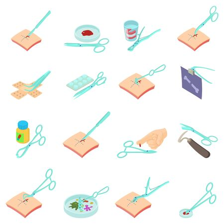 Clinical research icons set. Isometric set of 16 clinical research vector icons for web isolated on white background Illustration
