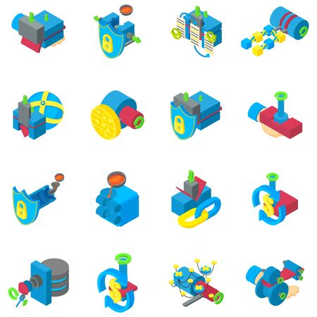 Cyber mining icons set. Isometric set of 16 cyber mining vector icons for web isolated on white background Vettoriali