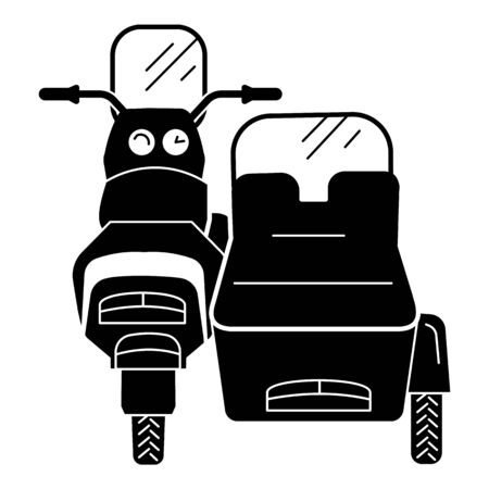 Back of motorcycle with sidecar icon, simple style Illustration
