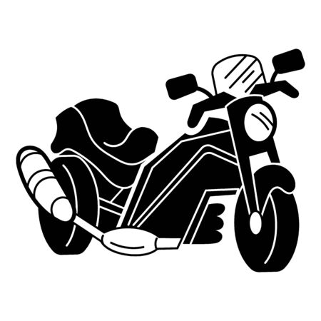Motorbike with exhaust icon. Simple illustration of motorbike with exhaust vector icon for web design isolated on white background