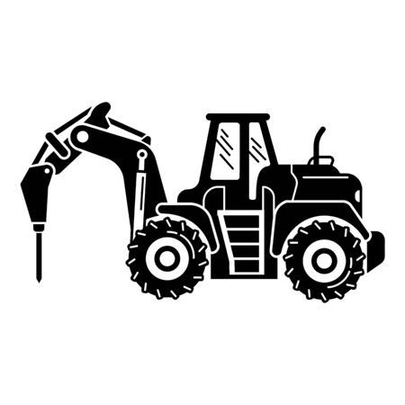 Drilling machine tractor icon. Simple illustration of drilling machine tractor vector icon for web design isolated on white background
