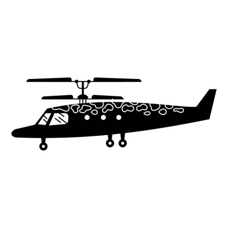 Camo helicopter icon. Simple illustration of camo helicopter vector icon for web design isolated on white background