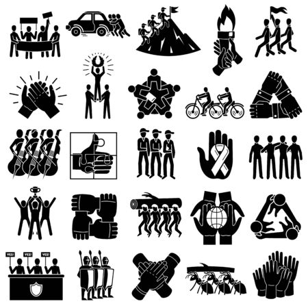 Cohesion icons set. Simple set of cohesion vector icons for web design on white background