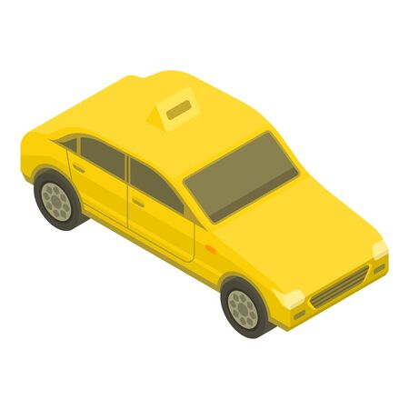 Yellow taxi car icon. Isometric of yellow taxi car vector icon for web design isolated on white background
