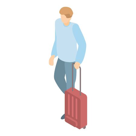 Man with travel bag icon, isometric style