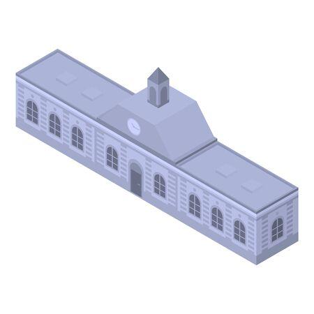Railway city building icon. Isometric of railway city building vector icon for web design isolated on white background