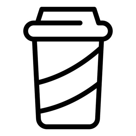 Paper cup icon. Outline paper cup vector icon for web design isolated on white background