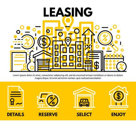Lease contract concept background. Outline illustration of lease contract vector concept background for web design