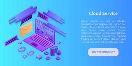 Cloud service concept banner. Isometric illustration of cloud service vector concept banner for web design