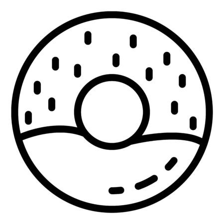 Cream donut icon. Outline cream donut vector icon for web design isolated on white background