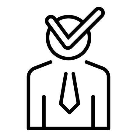 Check man lecture icon. Outline check man lecture vector icon for web design isolated on white background