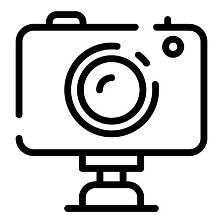 Helmet camera icon. Outline helmet camera vector icon for web design isolated on white background
