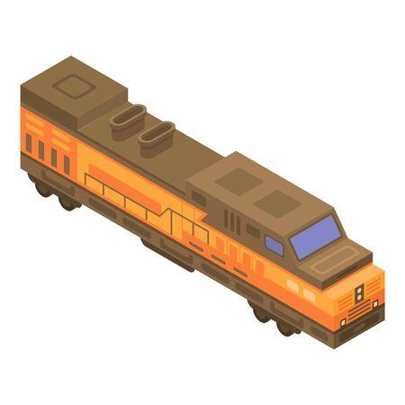 Cargo train icon. Isometric of cargo train vector icon for web design isolated on white background Illustration