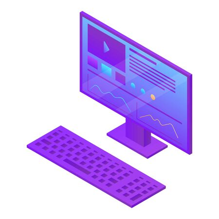 Desktop computer icon. Isometric of desktop computer vector icon for web design isolated on white background