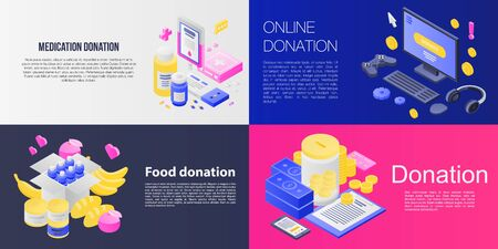 Donations banner set. Isometric set of donations vector banner for web design 일러스트